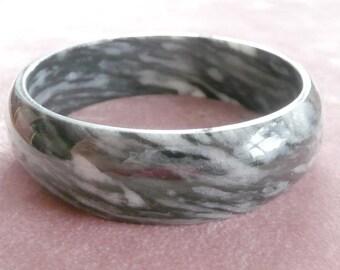 Black Onyx Marbled Bangle Bracelet Mexico
