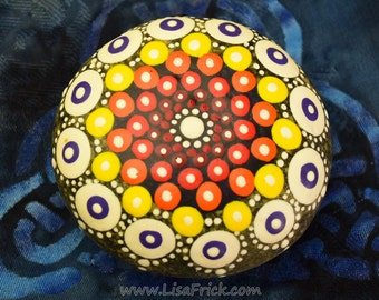 Hand Painted Rock with Geometric Design 024