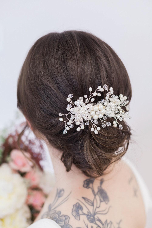 silver crystal and pearl bridal headpiece, wedding hair accessory