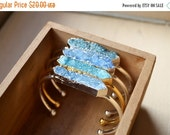 VALENTINES DAY SALE Blue Crystal Geode Druzy Bangle