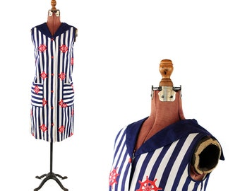 Vintage 1960's Cotton Navy Blue + White Stripe Nautical Print Shift Sailor Summer Dress M