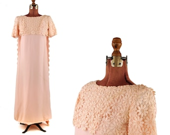 Vintage 1960's Pale Pastel Pink Crepe Sheer Daisy Floral Lace Empire Waist Spring Formal Shift Dress S