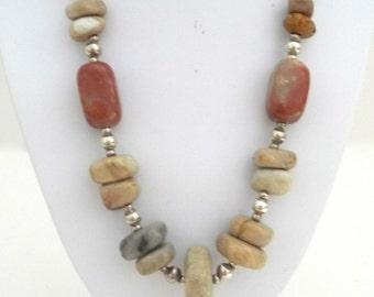 Vintage Polished Rock Bead Necklace