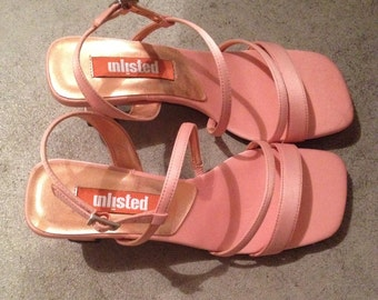 vtg 90s chunky heel sandals 6.5 6 lucite salmon orange pink 1990s jelly shoes cage grunge raver shopjeen