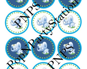 INSTANT DOWNLOAD/ Baby Shower/ Baby Elephant/ Party Circles