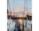 Marina Two Boats at Sunset Watercolor print 11 x 14