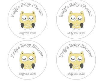 Personalized Baby Shower Favor Labels, Owl Baby Shower Stickers in yellow and gray, owl baby shower decorations, gender neutral