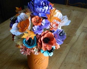 FRESH FOR FALL - Pumpkin Mason  Jar Bouquet- Weddings, birthdays, anniversaries, country home decor