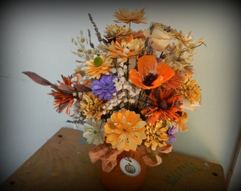 Pumpkin Mason jar - Fall bouquet - Weddings, parties, gifts - Hand made paper floral bouquet- Distressed cotton ribbon bow