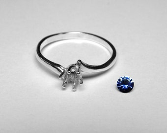Ceylon Sapphire Ring in Silver, 3.65 mm