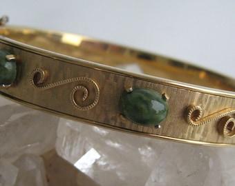 Vintage Krementz Gold Filled Overlay Jade Cuff Bangle Bracelet Original Box