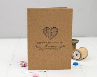 5th Anniversary Card  - 5th Wedding Anniversary Card - Fifth Anniversary Card - Wood Anniversary - Anniversary Card