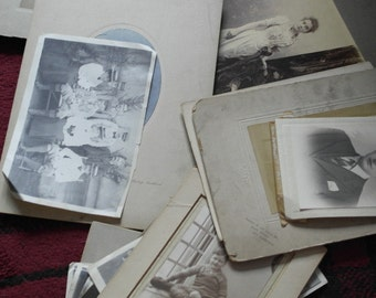 13 x assorted antique and vintage black and white photographs