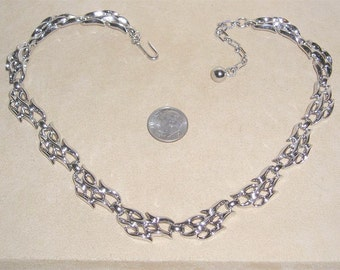 Vintage Trifari Flame Necklace Silver Tone Late 1950's Signed Jewelry 2198
