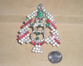 Vintage Multi Colored Rhinestone Christmas Tree Brooch With Snow Man 1980's Jewelry Pin 3011