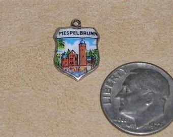 Vintage Signed 800 Silver On Enamel Travel Shield Mespelbrunn Charm Or Pendant 1960's Jewelry 129