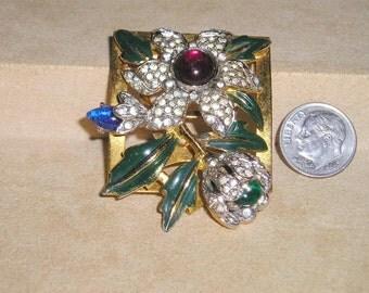 Vintage Coro Carmen Miranda Dress Clip Art Deco Era Rhinestone Enamel 1930's Signed Jewelry 6049
