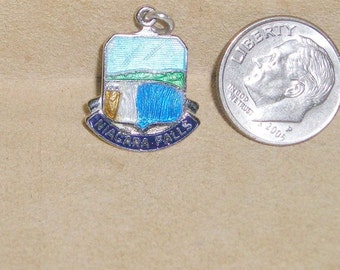 Vintage Sterling Silver Charm Or Pendant Niagara Falls Enamel 1950's Signed A.M.C.O Jewelry  6068