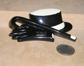 Vintage Celluloid Top Hat Cane And Gloves Brooch Pin 1950's Signed DL Jewelry  7016