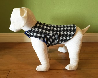Fleece Dog Coat, Extra Small Black & White Houndstooth Fleece with Royal Blue Fleece Lining