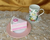 Coffee Cup, Dessert / Bread and Butter Plate, AND doily coaster tea party set, mix & match mismatched - St George - floral shabby chic