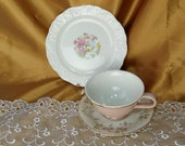 Vintage & newer Mismatched Teacup, Saucer, bread and butter / dessert plate trio, Federal Shape America - Mix and Match Party