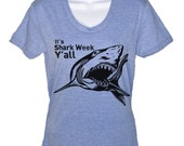 SALE  Womens Shark Week Funny T Shirt - American Apparel Tshirt - Athletic Blue - Size LARGE