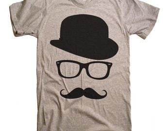 Men's Mustache & Wayfarer Tshirt - Funny T Shirt - Mens T-Shirt - S M L Xl 2X (15 Color Options)