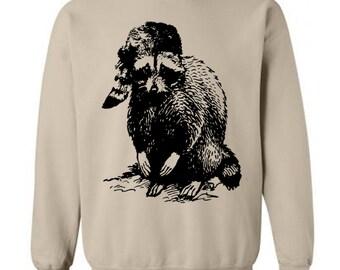 Raccoon Sweater Flex Fleece Pullover Classic Sweatshirt - S M L Xl 2X (12 Color Options)