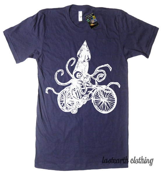 ON SALE - Squid on a Bike T-Shirt - American Apparel Tshirt - Navy- Sizes MEDIUM