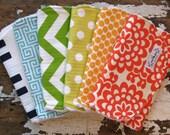 Baby Burp Cloths - Rainbow Set of 6 - Gender Neutral for Baby Girl or Baby Boy - Polka Dots, Chevron, Greek Key, Elephants