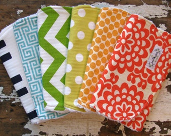 Baby Burp Cloths - Rainbow Set of 6 - Gender Neutral for Baby Girl or Baby Boy - Polka Dots, Chevron, Greek Key, Elephants