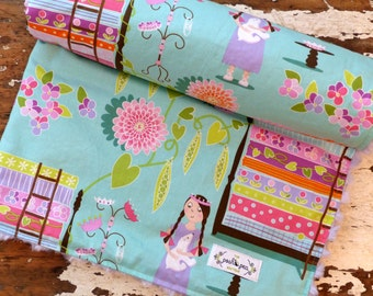 SALE Minky Baby Blanket - Princess & the Pea Aqua Mint - Baby Girl - Purple, Pink, Aqua, Lime
