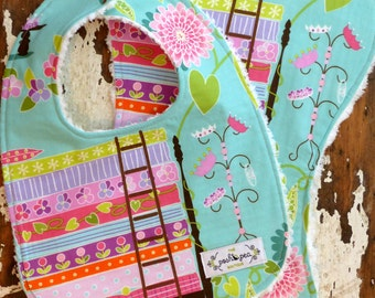 SALE Bib & Burp Cloth Girl Gift Set - Princess and the Pea in Aqua Mint