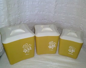Vintage Yellow Plastic Canister Set