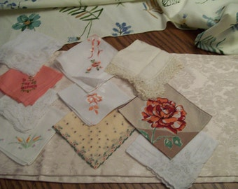 Vintage Handkerchief Lot of 10 Peach Coral White Weddings Embroidered Mother Hankie