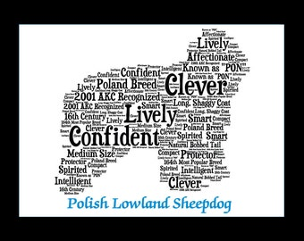 Polish Lowland Sheepdog,Polish Sheepdog Art,Polish Sheepdog Artwork,Polish Sheepdog Print,Polish Sheepdog,Sheepdog Gift, Sheepdog print