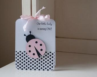 Ladybug First Birthday Party Invitations Baby Shower Baby Girl Lady Bug Pink Black Polka Dots