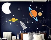 Planets Wall Decal Set Space Decals Solar System Wall Decal Bedroom Decals For Kids Space Theme Spaceship Decals Rocket Wall Decal Graphics