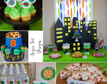 INSTANT DOWNLOAD - Modern Ninja Turtle Party Printables, Party Circles, Food Labels, Pizza Banner, Bottle Wrappers