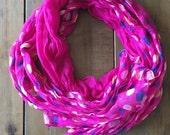 Purple polkadot scarf