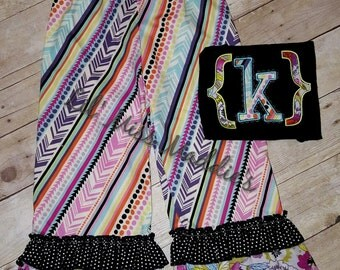 stripes and dots ruffled pants set