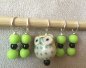 Limey Owls - set of 5 stitch markers