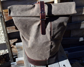 Waxed Canvas and Leather Duffle Bag- Roll Top Backpack- The Nomad