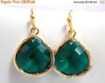 SALE Green Emerald Earrings, Glass Earrings, Green Earrings, Gold, Dark Green, Bridesmaid Earrings, Bridal Earrings Jewelry, Bridesmaid Gift