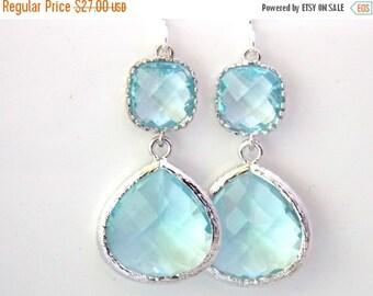 SALE Blue Earrings, Aquamarine Earrings, Aqua, Light Blue, Baby Blue, Glass, Bridesmaid Jewelry, Bridesmaid Earrings, Bridesmaid Gift