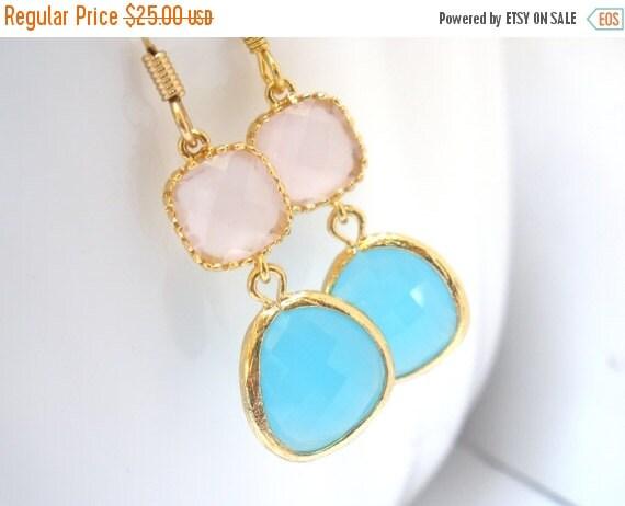 SALE Glass Earrings, Blue Earrings, Gold Earrings, Aquamarine, Ice Pink Earrings, Wedding, Bridesmaid Earrings, Bridal Earrings, Bridesmaid
