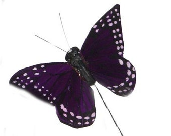 12 pc 2 Inch Purple Feather Butterfly (BF2267), Craft Butterflies, Floral Butterflies
