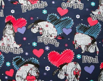 C189 - 1 meter  Cotton Fabric - dogs and hearts (145cm width)