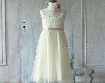 2017 Beige Lace Junior Bridesmaid Dress, Scoop Flower Girl Dress, Champagne Dress Girls, a line Children Dress Tea Length (ZK029)